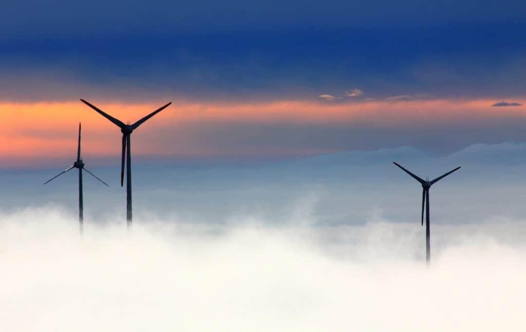 wind turbin in the clouds